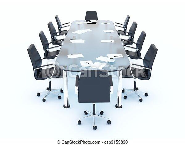 Una mesa vacía de conferencias aislada en blanco - csp3153830