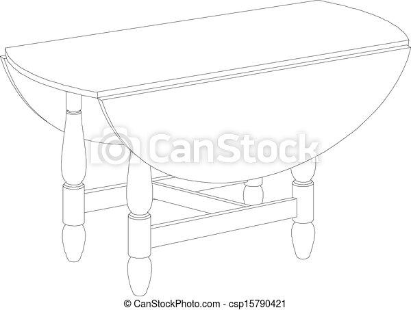 Dibujo de mesa redonda - csp15790421