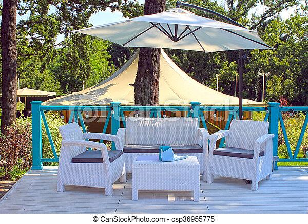 Mesas Jardín Verano Mimbre Fresco Al Rota Terraza Sillones Blanco Café