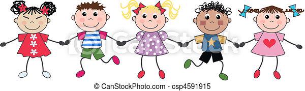 mescolato, bambini, mano - csp4591915