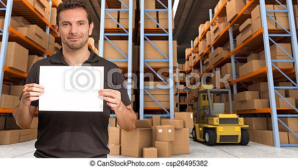 Message at distribution warehouse d - csp26495382