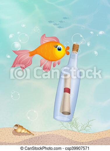 message, bouteille - csp39907571