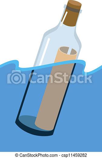 message, bouteille - csp11459282