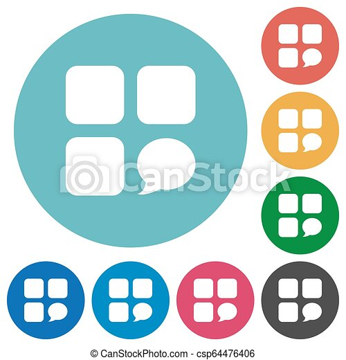 Message component flat round icons - csp64476406