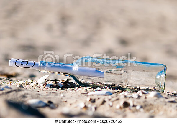 Message in a bottle in the sand - csp6726462