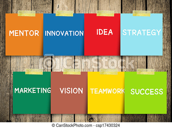 Message note with Success concepts in a sphere: idea, strategy, partner, motivation, marketing, mentor, vision, innovation. Slide concept. - csp17430324