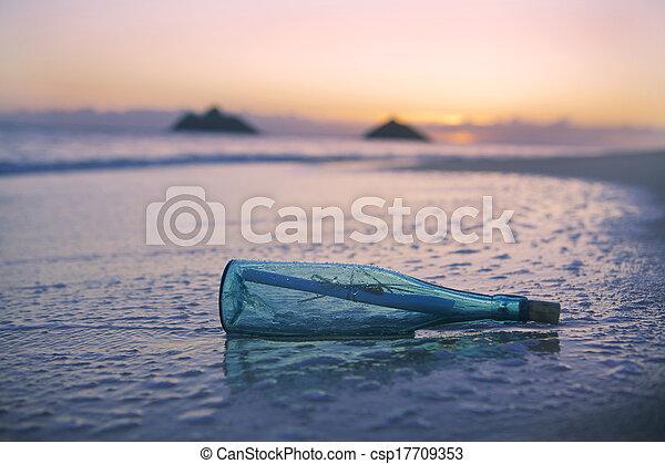 message, plage, bouteille - csp17709353