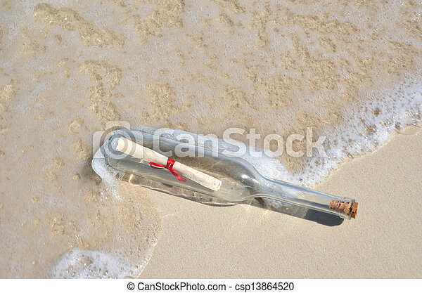 message, plage, bouteille - csp13864520