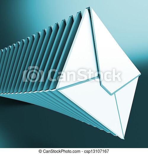 messages, entassé, informatique, inbox, enveloppes, spectacles - csp13107167