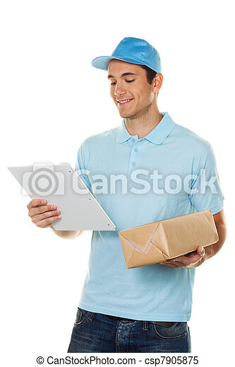 messenger delivers mail service package - csp7905875