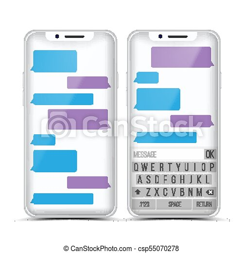 Messenger Vector  Speech Bubbles  Phone Chat Interface  Realistic  Smartphone  Communication Concept  Isolated Illustration