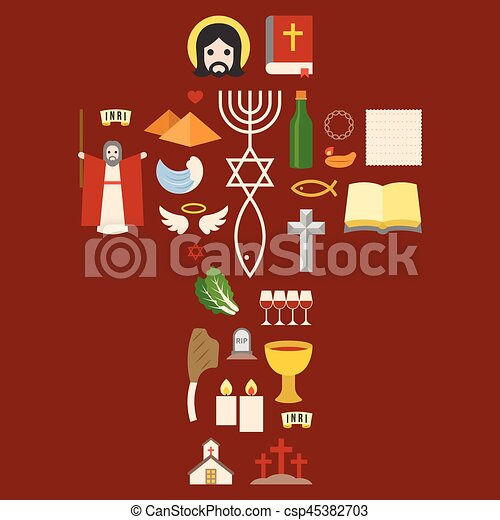 Messianic judaism sign and biblical icon from exodus, arrange as cross for passover holiday, flat design pictogram - csp45382703