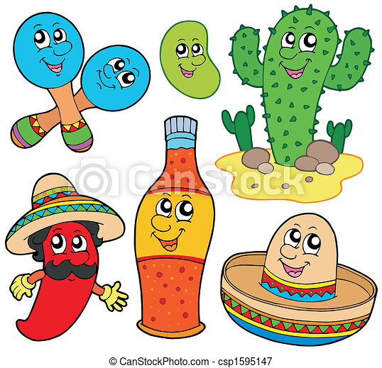 messicano, cartone animato, collezione - csp1595147