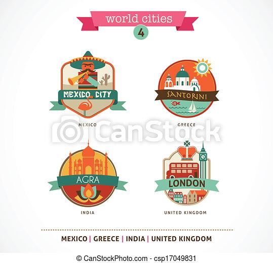 messico, etichette, -, santorini, agra, mondo, città, londra - csp17049831