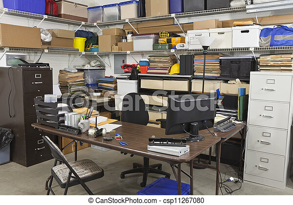 Messy back office Messy back office with piles of files and