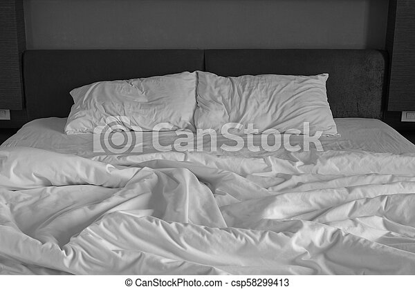 Amazing Messy Bed Sheets And Pillow   Csp58299413
