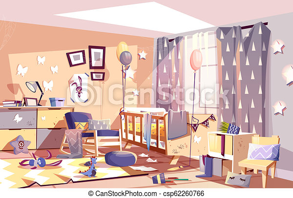 Messy child bedroom sunny interior cartoon vector - csp62260766