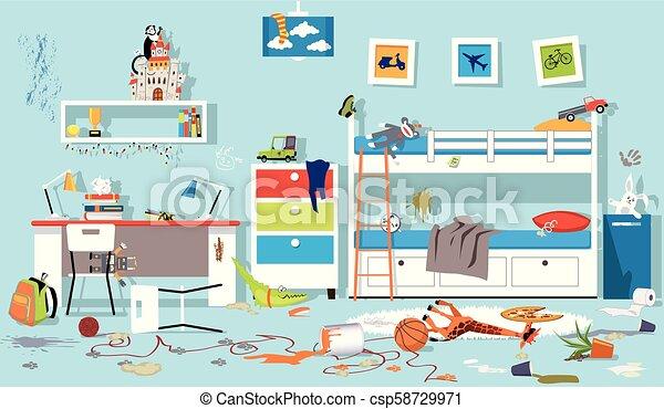 Messy children bedroom