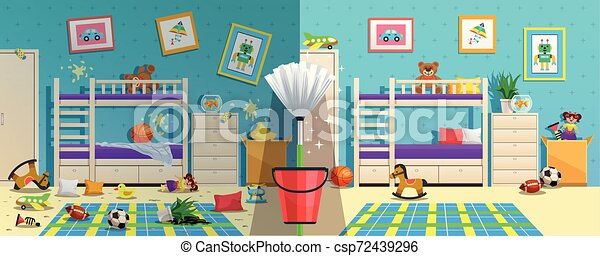 Messy Children Room Before After - csp72439296