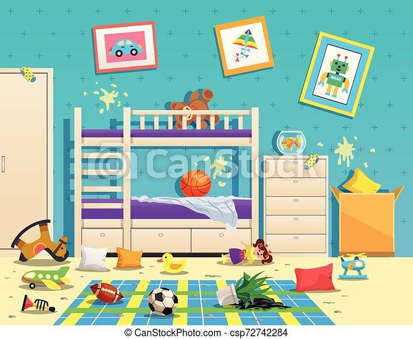 Messy Children Room Interior - csp72742284