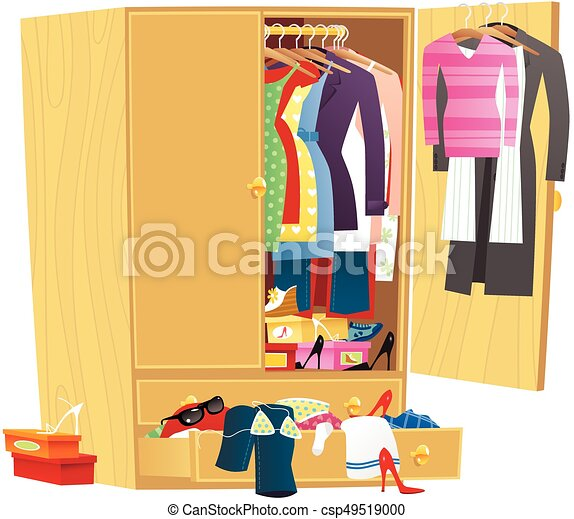 Wardrobe clipart  Messy clothing wardrobe.eps. An image of a large wooden... vector ...