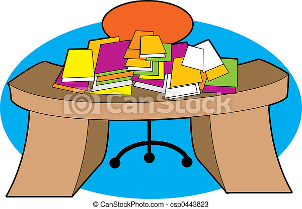 messy desk a desk piled with papers in a mess rh canstockphoto com messy desk clipart free Student Desk Clip Art