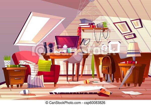 Messy Room At Garret Attic Vector Illustration Messy Room Interior