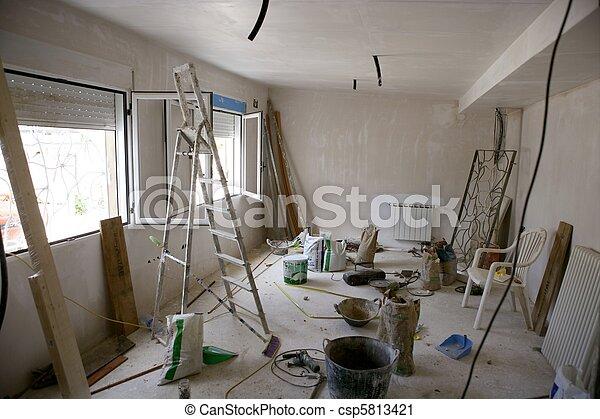 messy room during contruction improvement - csp5813421