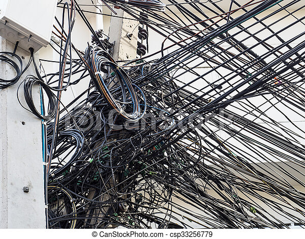 Messy Wire On Electricity Post