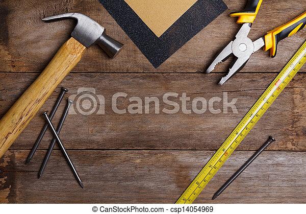 mesurer, marteau, bois, instruments, clous, -, papier verre, construction, pinces, table, bande - csp14054969
