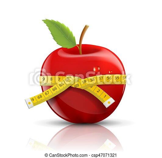 mesurer, pomme, isolé, bande, fond, blanc rouge - csp47071321