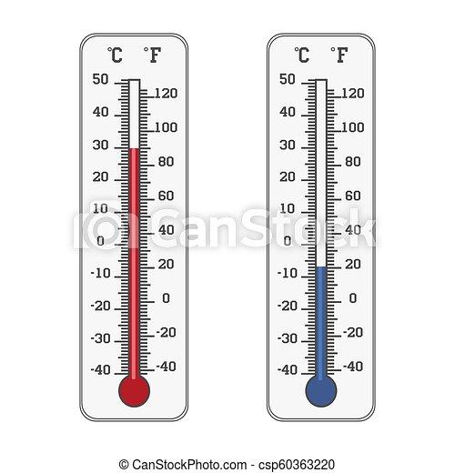 mesurer, température, fahrenheit, chaud, celsius, thermomètre, icon., froid - csp60363220
