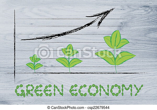 Metáfora, gráfico, hojas, economía, crecimiento, verde, rendimiento ...