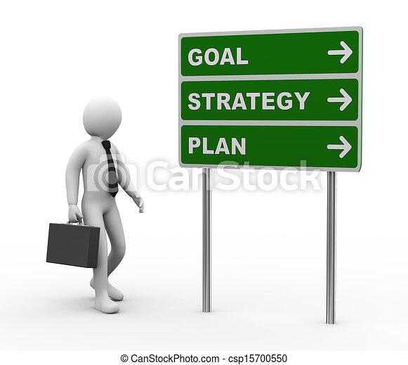 meta, estrategia, roadsign, plan, hombre de negocios, 3d - csp15700550