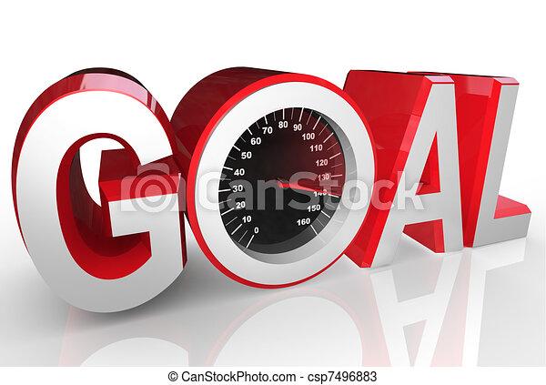 meta, sucesso, velocímetro, rapidamente, correndo, realização - csp7496883