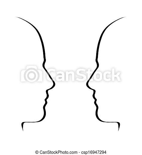 metafora, concetto, conversazione, bianco, -, parlare, nero, facce - csp16947294
