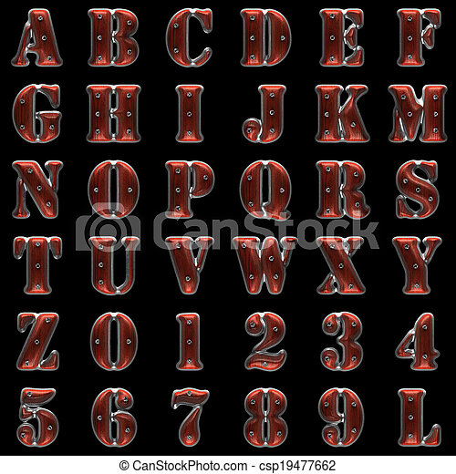 metal and wood alphabet on black background - csp19477662