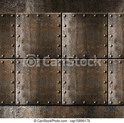 metal armour background with rivets - csp15899179