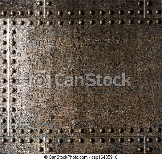 Metal background with rivets - csp16435910