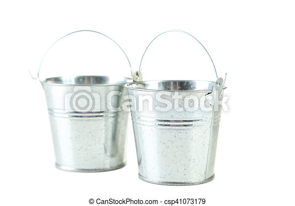 Metal buckets isolated on white - csp41073179