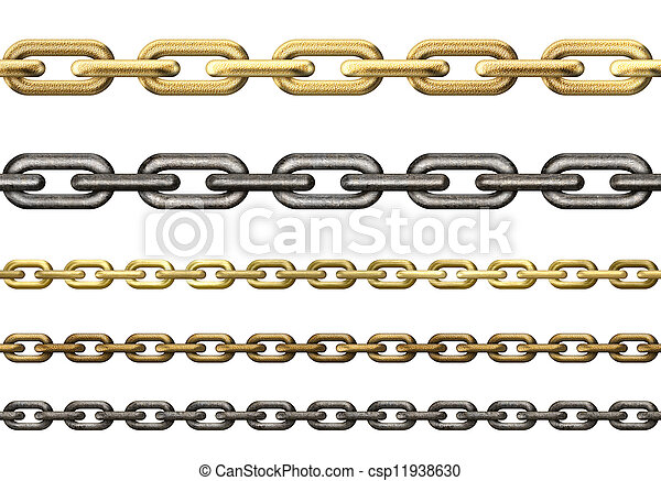 metal chains collection isolated on white - csp11938630