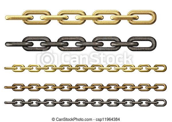 metal chains set isolated on white - csp11964384