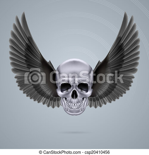 Metal chrome skull with two wings - csp20410456