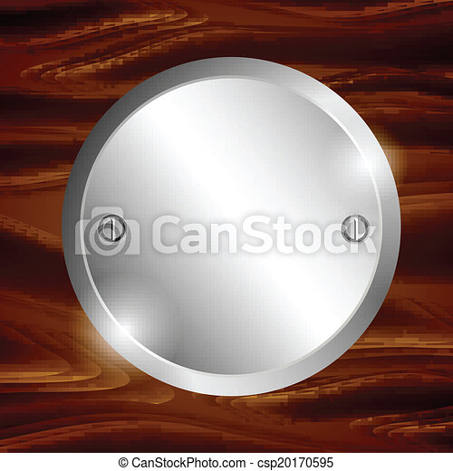 Metal circle-plate on wooden surface - csp20170595