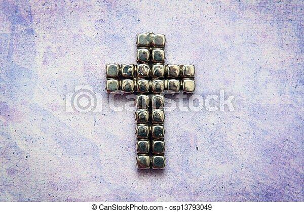 Metal cross on grunge background - csp13793049