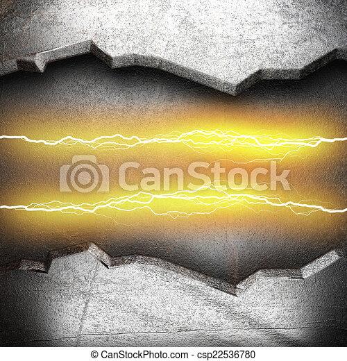 Trasfondo metálico con un rayo eléctrico - csp22536780