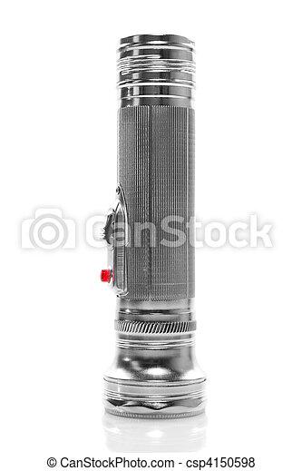 metal flashlight isolated on white - csp4150598