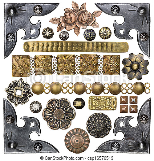 Metal Frame Vintage Metal Corners Nails Buttons And Other Design