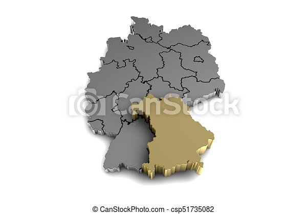 Metal germany map with bayern region highlighted in stock metal germany map with bayern region highlighted in gold3d render csp51735082 gumiabroncs Image collections