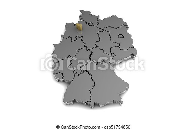 Metal germany map with bremen region highlighted in stock